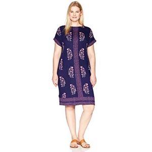 Lucky Brand Womens Printed Tee Dress Plus Sz 1X
